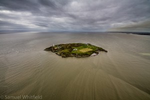 Arial shot of Flat Holm Island
